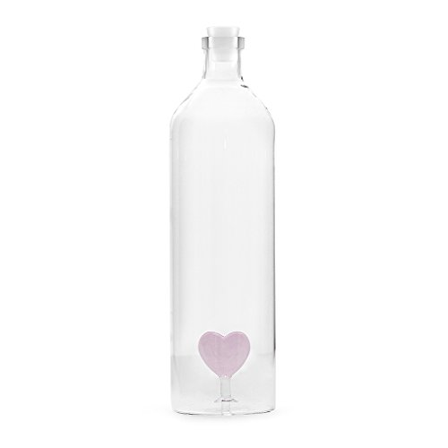 Balvi Bottiglia Love Bottiglia da Acqua 1,2L Figura fissata all'Interno Tappo in Silicone Borosilicato 30 cm