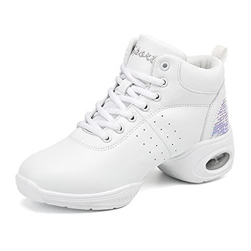 MYYU Zapatillas Baile Moderno Jazz High Top Zapatos Deportivos Cómodos Hip-Hop Zapatos De Jazz/Deportivo Zapatillas De Deporte/Zapatos Al Aire Libre,Blanco,38EU/7US