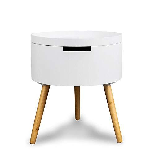 Jcnfa-Tische ronde driepoot-salontafel woonkamer massief houten lager kleine salontafel met lade actieve desktop creatieve opbergbuis, nachtkastje