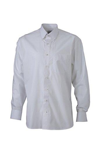 JAMES & NICHOLSON Chemise Business Comfort Fit avec col boutonné (3XL, Blanc)
