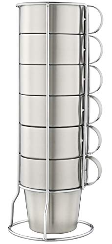 Mirenlife Stackable Stainless Steel Coffee Cups, Insulated Tea Cups with Stainless Steel Handle, Double Walled Insulated Coffee Mug, Keep Drinks Hot or Cold Longer, Metal Stand, Set of 6