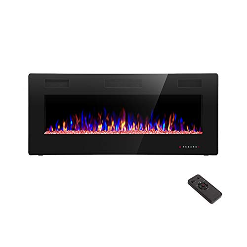 R.W.FLAME 42 inch Recessed and Wall Mounted,The Thinnest Fireplace,Low Noise, Fit for 2 x 6 and 2 x 4 Stud, Remote Control with Timer,Touch Screen,Adjustable Flame Color and Speed
