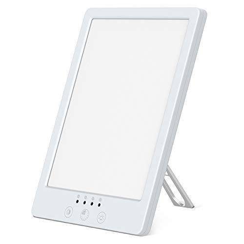 Tageslichtlampe 10000 Lux, WELTEAYO Tageslichtleuchte LED Lichtdusche Einstellbare Helligkeitsstufen Tageslicht Lichttherapie Lampe Nachtlicht mit Multi Winkel Ständer zum Ausgleich von Lichtmangel