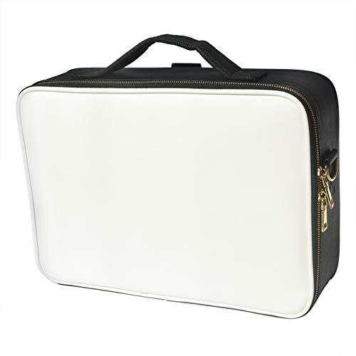 Doubleblack Profesional Neceser para Maquillaje Mujer Bolsa Maletin Organizador Viaje con Brochas Compartimentos Impermeable Negro/Blanco L 41x29x10 cm