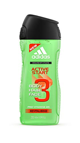 Adidas Active Start 3-in-1 voor heren – stimulerende douchegel voor lichaam, haren & gezicht – pH-huidvriendelijk – per stuk verpakt (1 x 250 ml)
