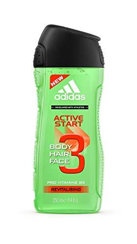 Adidas Active Start 3-in-1 voor heren – stimulerende douchegel voor lichaam, haren en gezicht – pH-huidvriendelijk – 1 x 250 ml