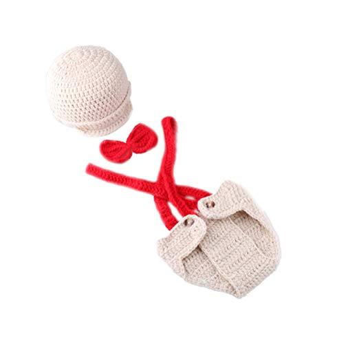 YeahiBaby Neugeborenes Baby Fotografie Requisiten häkeln Kostüm Hüte Outfits Kleinkind Photoshoot Sets (Rot)
