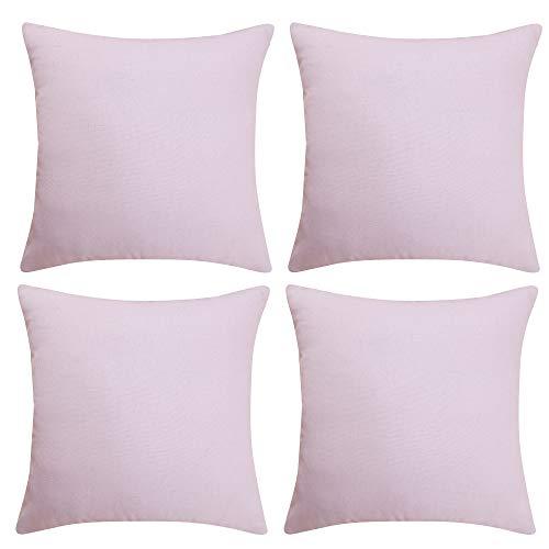 Deconovo Kissenbezug Kopfkissenbezug Leinen Kiessehülle Kissenbezüge 50x50 cm Pink 4er Set