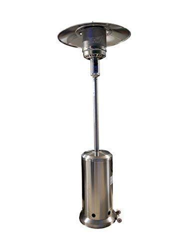 Larel - Estufa tipo seta de gas GLP para exteriores, 14kW, 220cm de altura, color acero