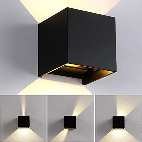 12W Wandleuchte, Wandlampe Innen/Außen, Warmweiß Wandleuchten, 3000K LED Außenwandleuchte IP65 für Schlafzimmer, Wohnzimmer, Draussen, Verstellbarem Abstrahlwinkel, Schwarz[Energieklasse A++]