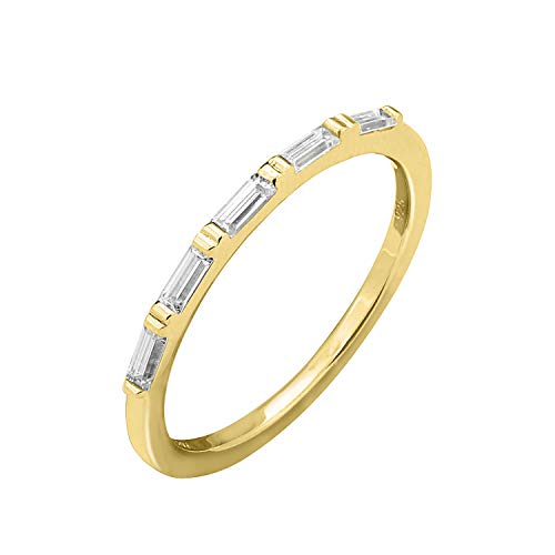 KIERA COUTURE RING BAR White Baguette Cut Yellow Gold Plated Sterling Silver Stackable Ring Size 7