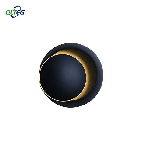 LED wandlamp 360 graden rotatie instelbare bedlampje 4000 K zwart creatieve wandlamp zwart moderne gang ronde lamp 5W zwart wandlamp