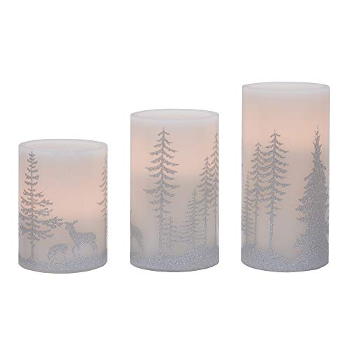Deer and Trees Silver Tone 6 inch Wax Flameless Holiday Pillar Candles Set of 3