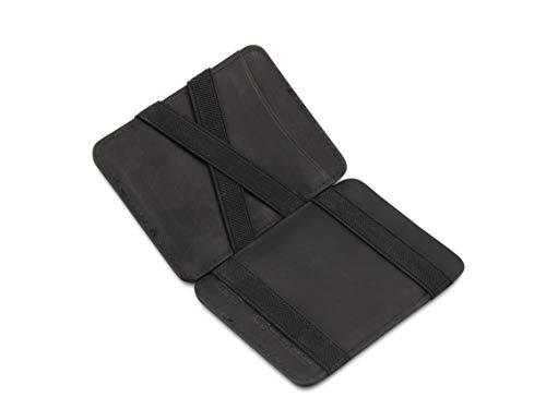 Hunterson Magic Wallet Cuero Negro para 8 Tarjetas - Tarjetero con Bloque RFID - Cartera para Hombre
