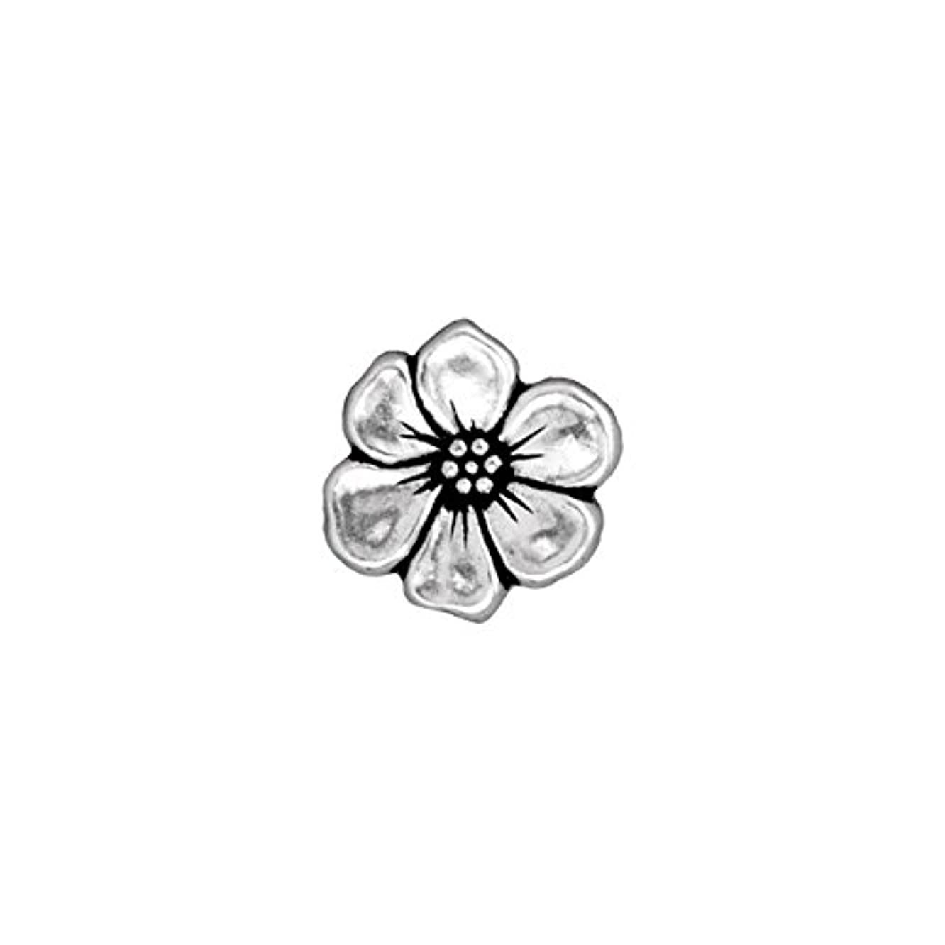 TierraCast Button Apple Blossom, 14mm, Antiqued Fine Silver Plate Pewter, 3-Pack
