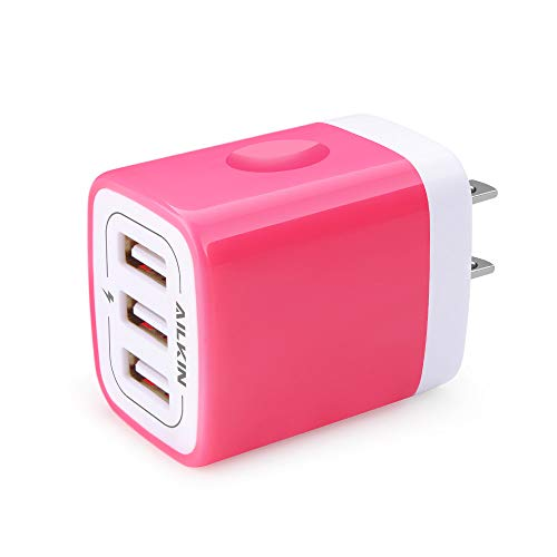 AILKIN 3 USB Wall Charger(Rose), Multiport Charger Plug Adapter Fast Charging Power Block Travel Home Charger Station Block Cube for iPad/iPhone/Samsung Galaxy/LG/Google Pixel/HTC/Sony More Cell Phone