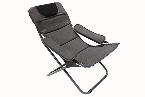 Homecall Folding camping chair with Olefin fabric UV protection water proof sponge padded grey backrest adjustable