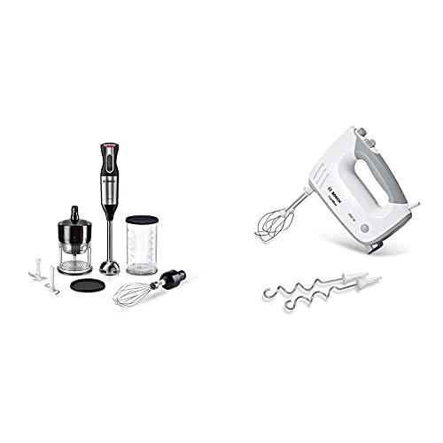 Bosch ErgoMixx Style Stabmixer MS6CM6166, 1000W, VarioSchopper, Schneebesen, Edelstahl/schwarz & ErgoMixx MFQ36400, 2 Rührbesen, 2 Edelstahl-Knethaken, 5 Stufen plus Turbostufe, 450 W, weiß