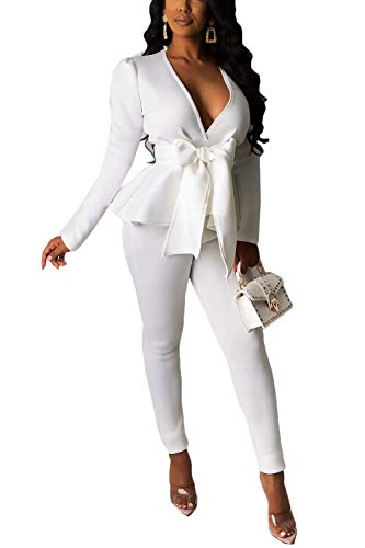 Remelon 2 Piece Outfits for Women Long Sleeve Solid Color Blazer with Pants Casual Elegant Business Suit Sets White
