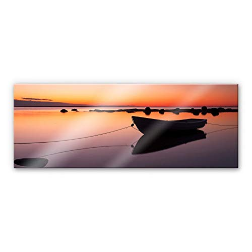 Plexiglas Schilderij Stilte aan het Water | Panorama Acrylglas Wanddecoratie | 120x50 cm (bxh) | Ook Geschikt voor Buiten als Tuinschilderij