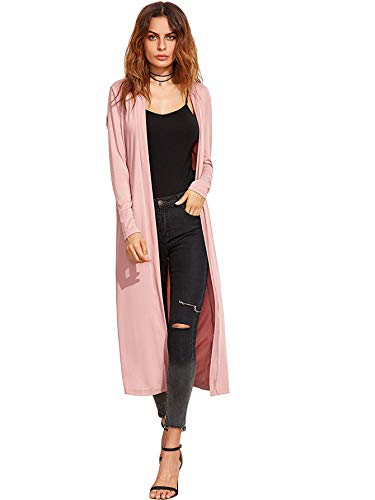 Verdusa Women's Long Sleeve Open Front Long Maxi Cardigan Longline Duster Coat A&Pink M