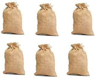 Pack of 6 -Un-laminated Jute Burlap Drawstring Bag Eco-friendly Reusable Bag Natural Size 10 x 14 Natural Color - CarryGreen Bags