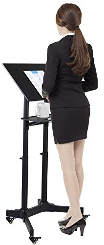 Mount-It! Mobile Standing Height Desk, Portable Podium and Rolling Presentation Lectern, Laptop Stand Up Desk with Caster Wheels (MI-7971)