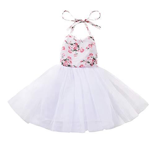 Little Girl 's Sweet Halter Vestido Corto Verano Flor Impreso Cordones De Malla De Hilo Una Línea De Princesa Tutu Vestido, blanco, 0- 6 meses