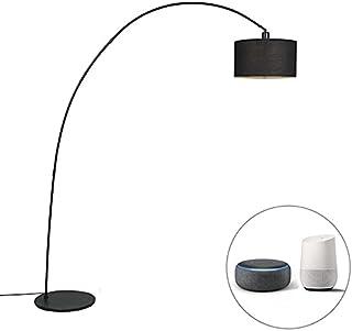 Qazqa Lampadaire | Lampe sur pied à arc Moderne - Vinossa Lampe Noir - E27 - LED incluse - 1 x 8.5 Watt