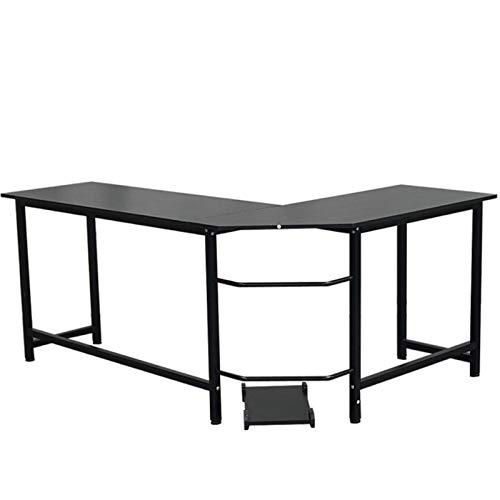 Miaow house Mesa de estudio de escritorio en forma de L, fácil de montar, se puede utilizar en el hogar y la oficina, color negro