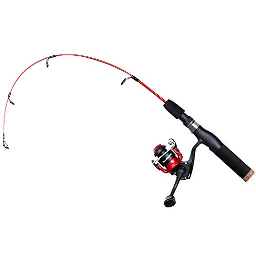 PLUSINNO Ultralight Winter Ice Fishing Rod Reel Combo 28 inch. Medium Light Fast Action Multi-Species Spinning Ice Fishing Pole Tackle Walleye Perch Panfish Bluegill Crappie