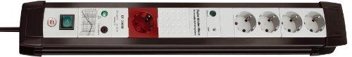 Brennenstuhl Premium-Line, Steckdosenleiste 5-fach mit Überspannungsschutz und Master Slave Funktion (3m Kabel und Schalter, Made in Germany) schwarz/grau