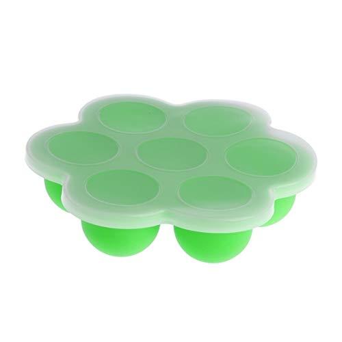 HMG 2 STÜCKE 7 Grid Babynahrung Container Infant Obst Muttermilch Aufbewahrungsbox Gefrierschrank Tablett Crisper (Blau) (Color : Green)