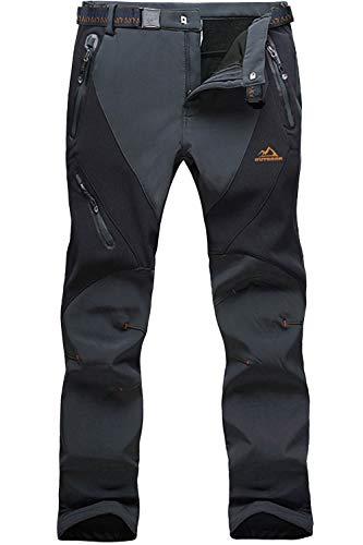 EKLENTSON Herren Gefüttert Funktionshose Skihose Softshell Hose für Männer Wind- und Wasserdicht Winter Warm Dunkel Grau, 30