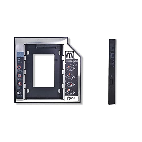 MJJCY Disco Duro 2do HDD Caddy 9.5mm / 12.7mm SATA 3.0 Caja de Disco Duro de Disco Duro 2.5 '' SSD Adaptador de Cajas de Caja Optibay para L.A.P.T.O.P CD DVD-ROM Kit de instalacion