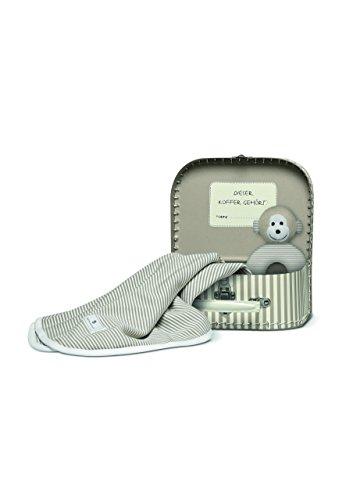 Bellybutton B11723 Koffer Geschenkset: Tuch, Greifling Bär, weiss/taupe striped/beige