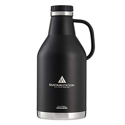 Sustain Station Growlers for Beer 64 oz with Handle, Half Gallon Growler, Vacuum Insulated Growler, Black, Easy-Carry & Sweat-Proof, Keeps Drinks Ice Cold or Hot Longer