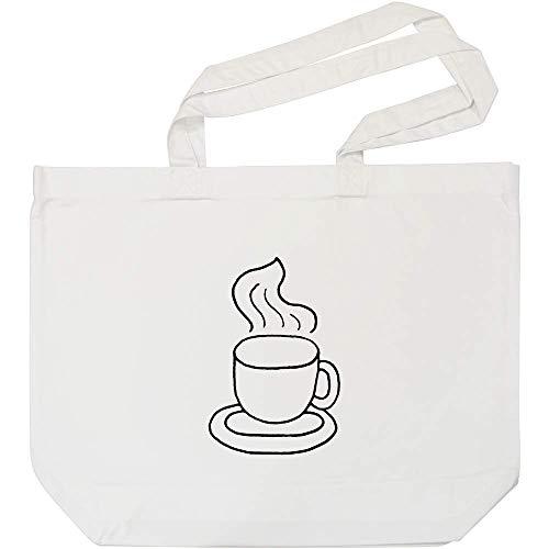 Azeeda 'Dampfender Kaffee' Weiße Einkaufstasche (BG00006816)