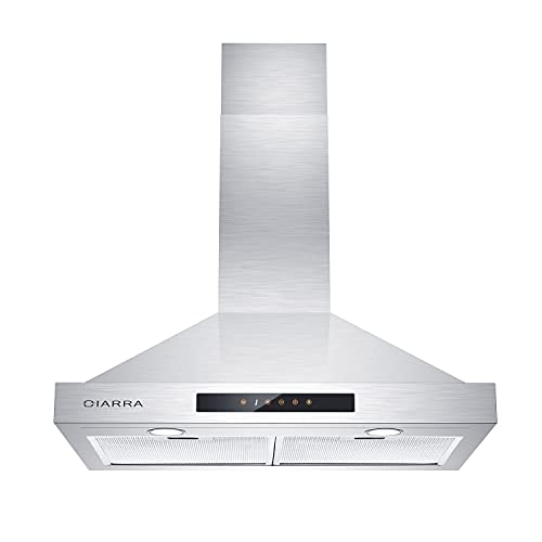 30 inch Range Hood with Soft Touch Control 450 CFM Stainless Steel Wall Mounted Range Hood with Clean & Fresh & Timer Function Ducted and Ductless Convertible CIARRA CAS75308