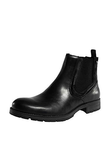 JACK & JONES Herren Chelsea Boots Stiefeletten Echtleder Stiefel Herrenschuhe (40 EU, Schwarz)
