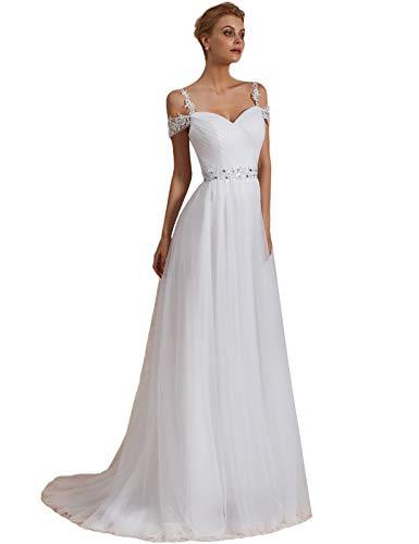 OYISHA Women's A-line Off Shoulder Beaded Wedding Dresses for Bride 2019 102WD Ivory 16