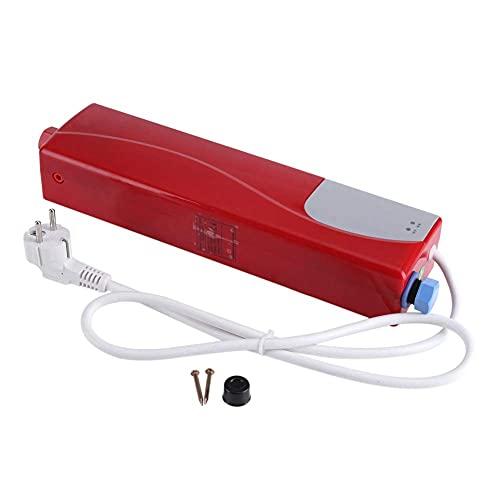 AYNEFY Durchlauferhitzer, Elektronischer Durchlauferhitzer Kleiner Elektrischer Warmwasserbereiter Instant-Warmwasserbereiter für Küche und Bad, 220v 3000w(rot)