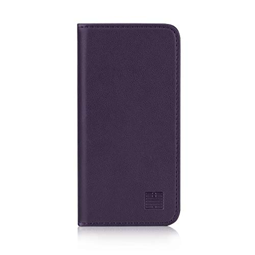 32nd Classic Series - Real Leather Book Wallet Flip Case Cover For Apple iPhone 5, 5S & SE (2016), Real Leather Design With Card Slot, Magnetic Closure and Built In Stand - Aubergine