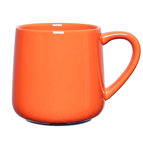 Bosmarlin Glossy Ceramic Coffee Mug, Tea Cup for Office and Home, 18 oz, Suitable forDishwasher and Microwave(Orange, 1)