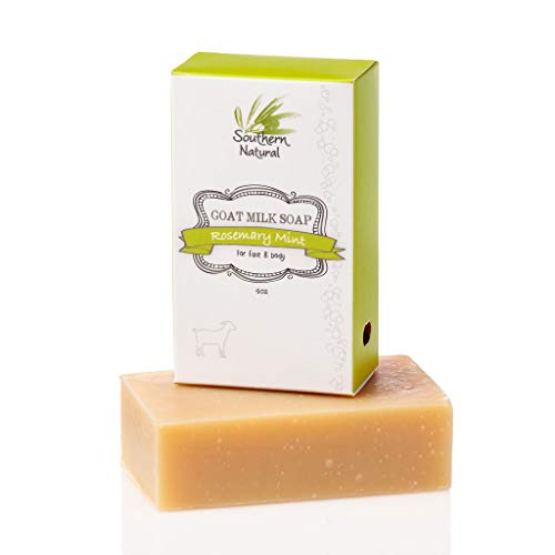 Rosemary Mint - All Natural Handmade Goat Milk Soap - For Psoriasis, Eczema & Dry Sensitive Skin. Gentle Face Soap, Hand Soap or Body Soap. For Men, Women and Kids. (1 Bar apprx 4oz)