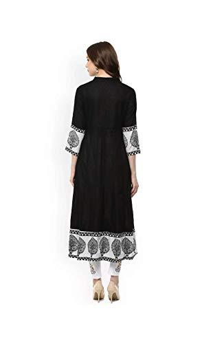 AnjuShree Choice Women Stitched Printed Cotton Anarkali Kurta Kurti (XL) Black