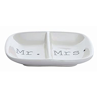 Creative Co-op Ceramic 2 Section Mr Mrs. Ring Dish