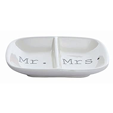 Creative Co-Op Ceramic  Mr. & Mrs.  Two Section Dish, White