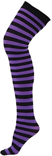 Calze a righe taglie forti da donna alte fino alla coscia sopra il ginocchio calze di nylon velate a righe alte calze a tubo (Color : Black+Purple, Size : One Size)