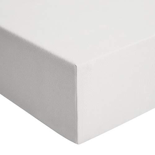 Amazon Basics - Spannbetttuch, Jersey, Hellgrau - 140 x 200 cm